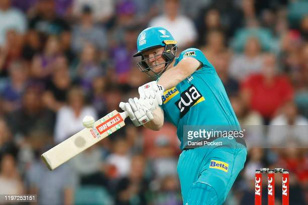 Max Bryant of the Heat bats during the Big Bash League match between the Hobart Hurricanes and the Brisbane Heat at Blundstone Arena on January 03...