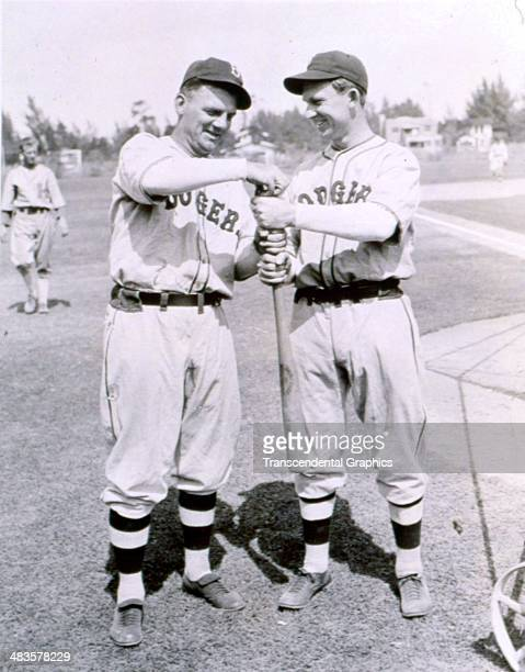 Max Cary manager of the Brooklyn Dodgers poses with an unknown teammate in March of 1933 in Clearwater Florida
