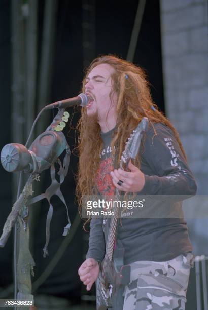 Max Cavalera guitarist and singer with Brazilian heavy metal band Sepultura performs live on stage at the 1994 Monsters of Rock festival at Castle...