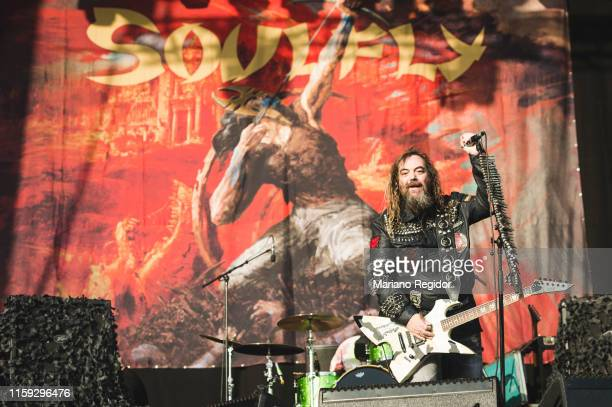 Max Cavalera of Soulfly performs on stage during day 3 of Download festival 2019 at La Caja Magica on June 30 2019 in Madrid Spain