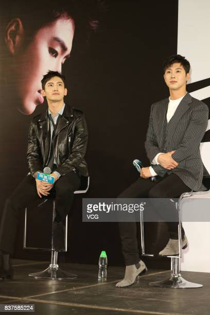 Max Changmin and UKnow Yunho of South Korean boy group TVXQ attend a press conference on August 22 2017 in Hong Kong China