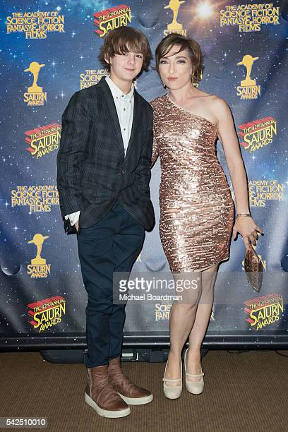 Max Charles and Naomi Grossman pose in the press room at the 42nd Annual Saturn Awards at The Castaway on June 22 2016 in Burbank California