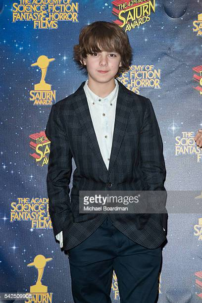 Max Charles pose in the press room at the 42nd Annual Saturn Awards at The Castaway on June 22 2016 in Burbank California