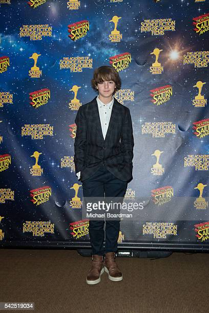 Max Charles pose in the press room at the 42nd Annual Saturn Awards at The Castaway on June 22, 2016 in Burbank, California.