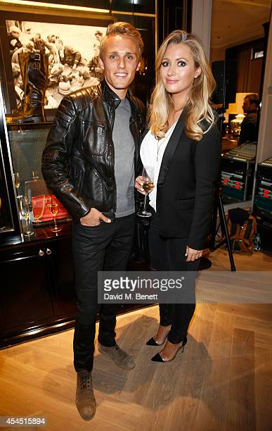 Max Chilton and Hayley Quinn attend a cocktail reception to celebrate the new Belstaff by Goodwood racing jacket capsule collection at Belstaff House...