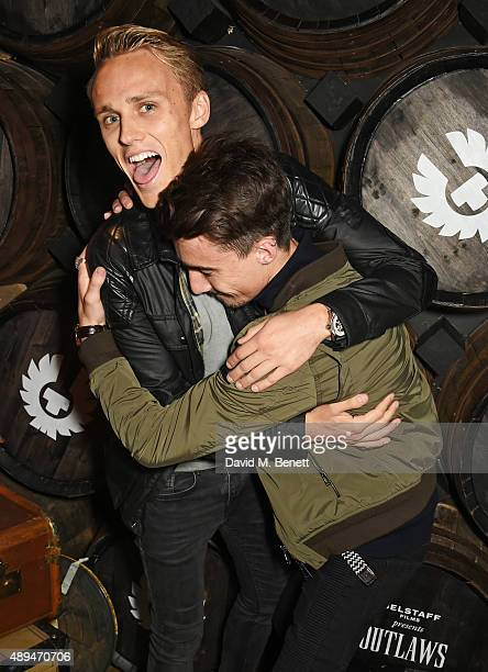 Max Chilton and Struan Moore attend an after party celebrating the premiere of Belstaff Films' 'Outlaws' during London Fashion Week at La Bodega...