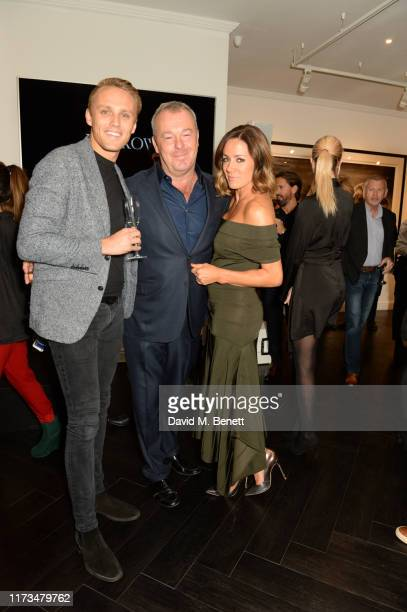 Max Chilton, David Yarrow and Natalie Pinkham attend the VIP launch event for 'Pride Rock by David Yarrow' at Maddox Gallery on October 3, 2019 in...