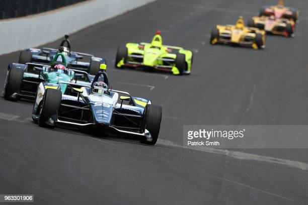 Max Chilton driver of the Gallagher Chevrolet races during the 102nd Indianapolis 500 at Indianapolis Motorspeedway on May 27 2018 in Indianapolis...