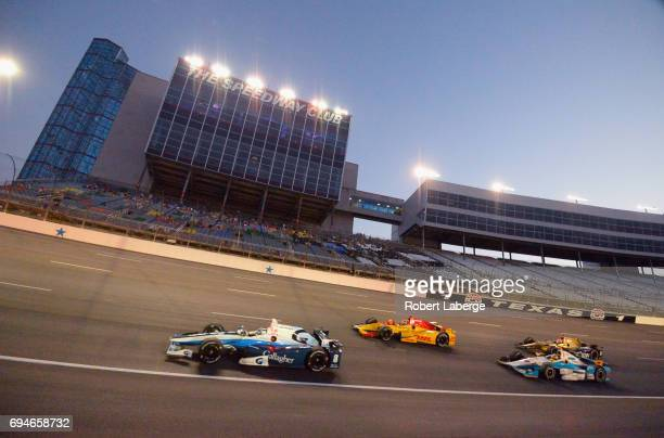 Max Chilton driver of the Gallagher Chip Ganassi Racing Honda Ryan HunterReay driver of the DHL Andretti Autosport Honda Gabby Chaves driver of the...