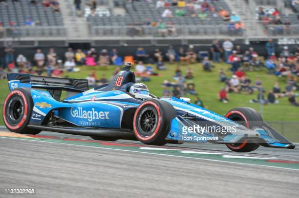Max Chilton of Carlin driving a Chevy races out of turn 1 during the IndyCar afternoon qualifications at Circuit of the Americas on March 23 2019 in...