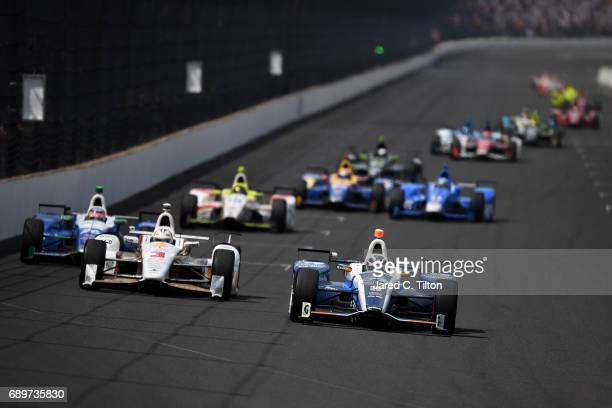 Max Chilton of England driver of the Gallagher Honda leads the field during the 101st Indianapolis 500 at Indianapolis Motorspeedway on May 28 2017...