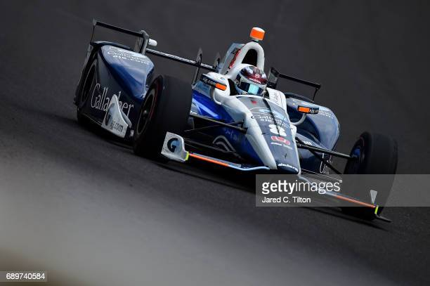 Max Chilton of England driver of the Gallagher Honda races during the 101st Indianapolis 500 at Indianapolis Motorspeedway on May 28 2017 in...