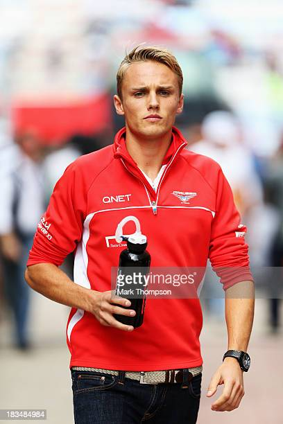 Max Chilton of Great Britain and Marussia attends the drivers parade before the Korean Formula One Grand Prix at Korea International Circuit on...
