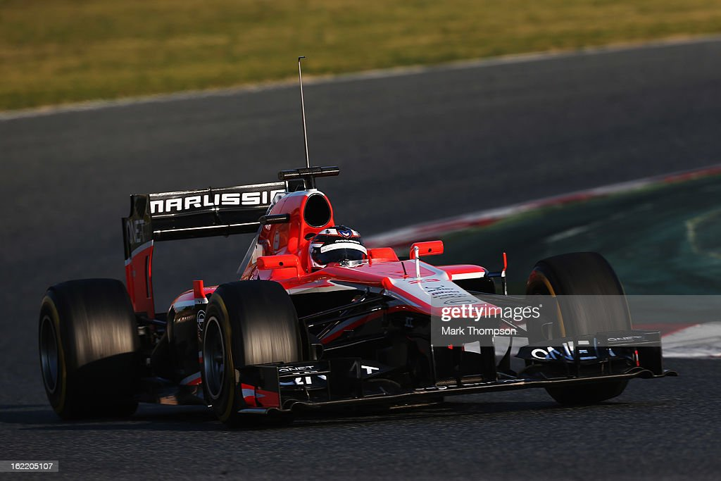 Max Chilton of Great Britain and Marussia drives during day two of Formula One winter test at the Circuit de Catalunya on February 20, 2013 in Montmelo, Spain.