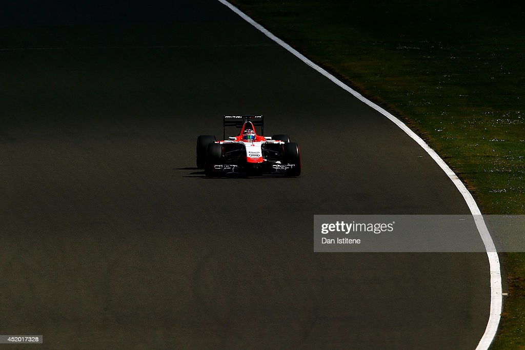 Max Chilton of Great Britain and Marussia drives during day two of testing at Silverstone Circuit on July 9, 2014 in Northampton, England.