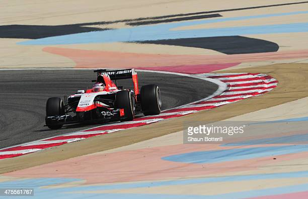 Max Chilton of Great Britain and Marussia drives during day two of Formula One Winter Testing at the Bahrain International Circuit on February 28...