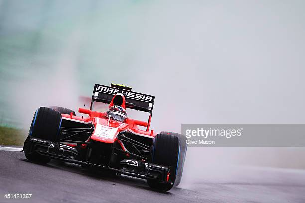 Max Chilton of Great Britain and Marussia drives during practice for the Brazilian Formula One Grand Prix at Autodromo Jose Carlos Pace on November...
