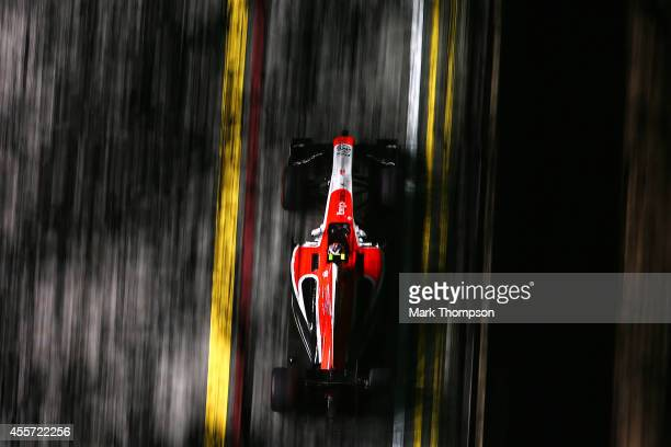 Max Chilton of Great Britain and Marussia drives during practice ahead of the Singapore Formula One Grand Prix at Marina Bay Street Circuit on...