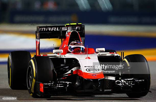 Max Chilton of Great Britain and Marussia drives during the Singapore Formula One Grand Prix at Marina Bay Street Circuit on September 21 2014 in...