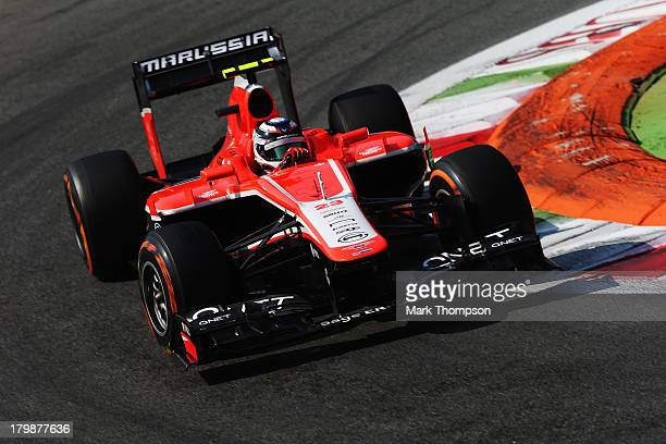 Max Chilton of Great Britain and Marussia drives in the final practice session before qualifying for the Italian Formula One Grand Prix at Autodromo...