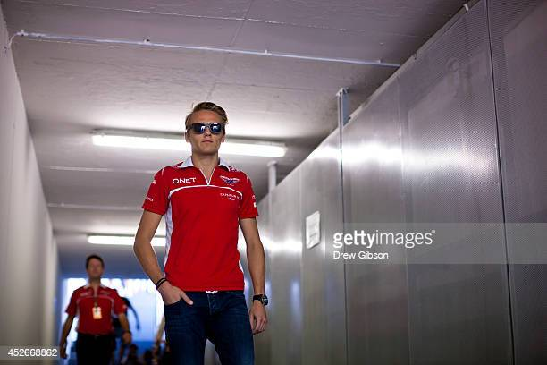 Max Chilton of Great Britain and Marussia leaves a drivers' briefing after practice ahead of the Hungarian Formula One Grand Prix at Hungaroring on...
