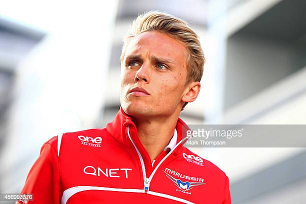Max Chilton of Great Britain and Marussia leaves the circuit after practice ahead of the Russian Formula One Grand Prix at Sochi Autodrom on October...