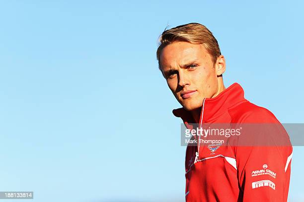 Max Chilton of Great Britain and Marussia walks in the paddock following practice for the United States Formula One Grand Prix at Circuit of The...