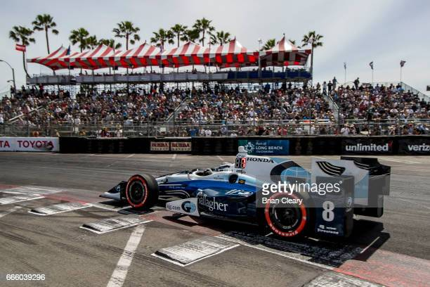 Max Chilton of Greta Britain drives the Honda IndyCar on the track during practice for the Grand Prix At Long Beach on April 7 2017 in Long Beach...