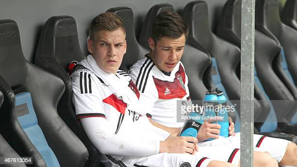 Max Christiansen and Niko Kijewski of Germany during the UEFA Under19 Elite Round match between U19 Germany and U19 Slovakia at CarlBenzStadium on...