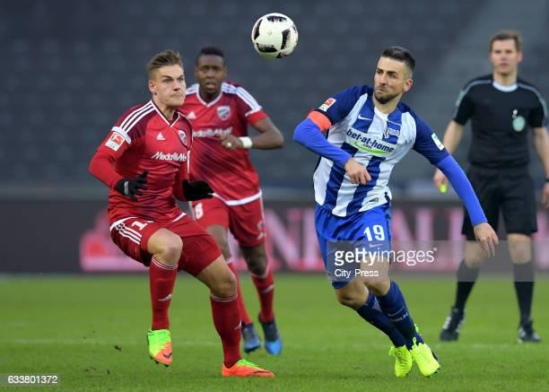 Max Christiansen of FC Ingolstadt 04 and Vedad Ibisevic of Hertha BSC during the game between Hertha BSC and FC Ingolstadt 04 on February 4 2017 in...