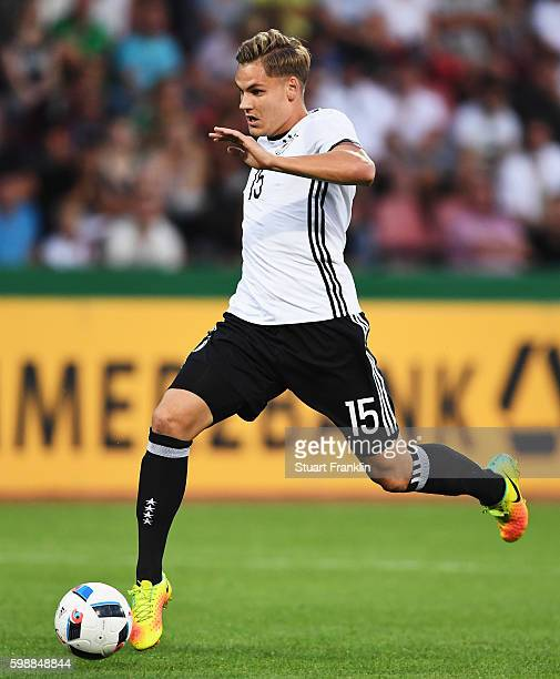Max Christiansen of Germany in action during the Under21 friendly match between U21 Germany and U21 Slovakia at Auestadion on September 2 2016 in...