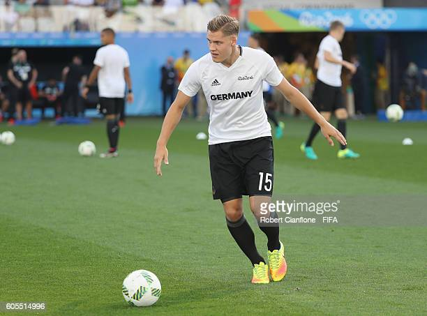 Max Christiansen of Germany warms up for the Men's Football Semi Final between Nigeria and Germany on Day 12 of the Rio 2016 Olympic Games at Arena...