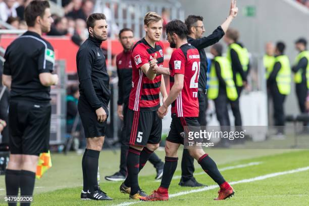 Max Christiansen of Ingolstadt comes on as a substitute for Christian Traesch of Ingolstadt during the Second Bundesliga match between FC Ingolstadt...