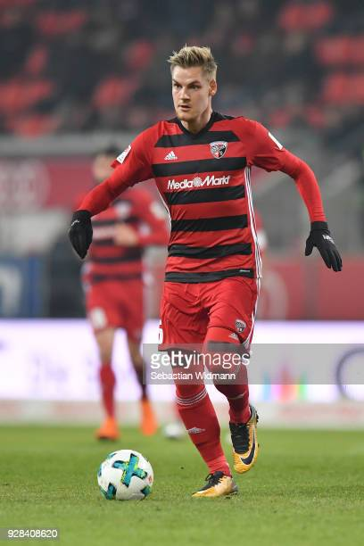 Max Christiansen of Ingolstadt plays the ball during the Second Bundesliga match between FC Ingolstadt 04 and VfL Bochum 1848 at Audi Sportpark on...