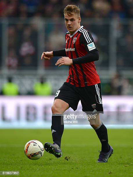 Max Christiansen of Ingolstadt runs with the ball during the Bundesliga match between FC Ingolstadt and VfB Stuttgart at Audi Sportpark on March 12...