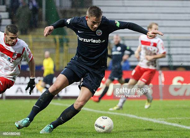 Max Christiansen of Rostock during the 3Liga match between FC Rot Weiss Erfurt and FC Hansa Rostock at Steigerwaldstadion on Dezember 13 2014 in...