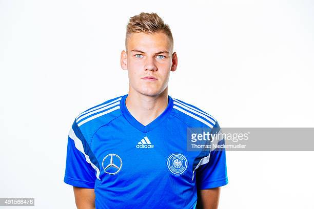 Max Christiansen poses during a photocall of the Under 20 National Football Team on October 6 2015 in Ulm Germany