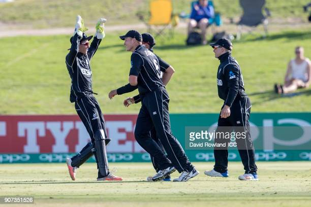 Max Chu of New Zealand celebrates with team mates after the dismissal of Jiveshan Pillay of South Africa during the ICC U19 Cricket World Cup match...