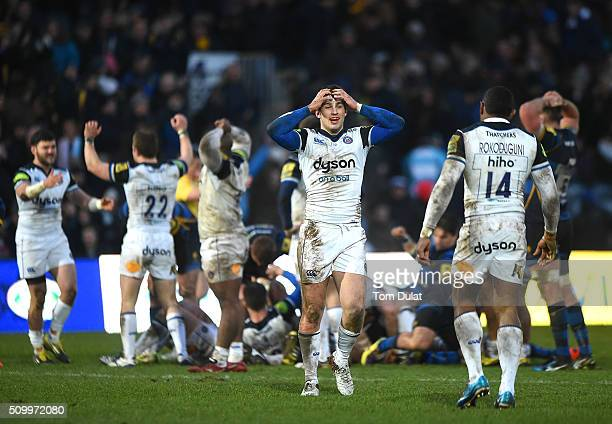 Max Clark of Bath Rugby celebrates winning the match during the Aviva Premiership match between Worcester Warriors and Bath Rugby at Sixways Stadium...
