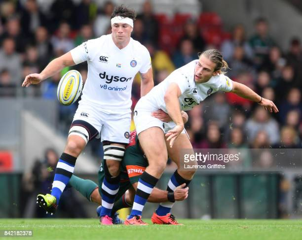 Max Clarkeof Bath Rugby in front of Francois Louw during the Aviva Premiership match between Leicester Tigers and Bath Rugby at Welford Road on...