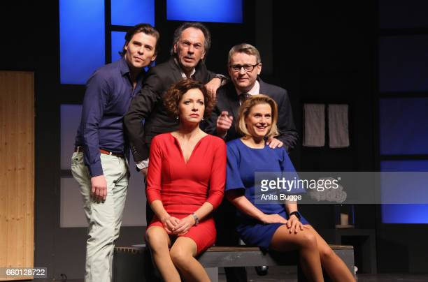 Max Claus Hugo Egon Balder Rene Heinersdorff Madeleine Niesche and Jeanette Biedermann pose for the press during the rehearsal for the play 'Aufguss'...