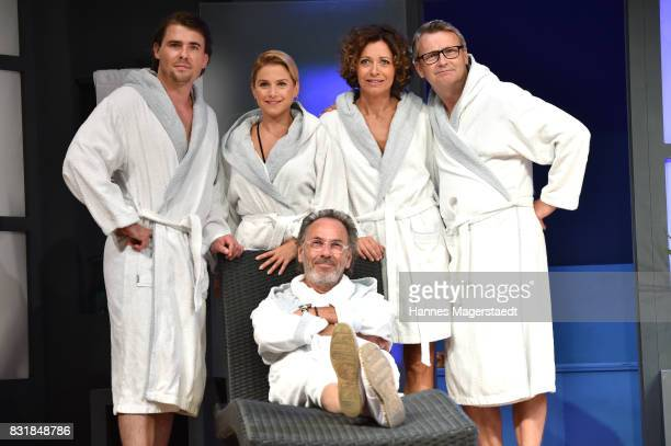 Max Claus Jeanette Biedermann Hugo Egon Balder Madeleine Niesche and Rene Heinersdorff during 'Aufguss' rehearsal photo call at Hotel Bayerischer Hof...
