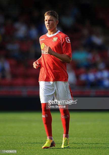 Max Clayton of Crewe Alexandra in action during the pre season friendly match between Crewe Alexandra and Blackburn Rovers at The Alexandra Stadium...