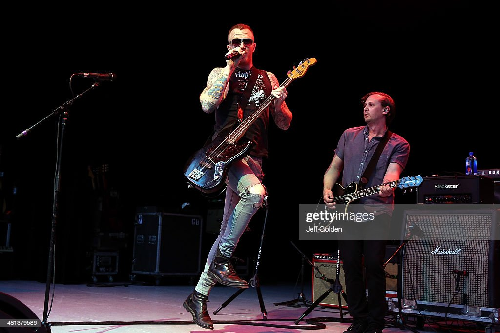 Max Collins and Jon Siebels of Eve 6 perform at The Greek Theatre on July 19, 2015 in Los Angeles, California.