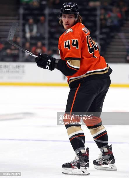 Max Comtois of the Anaheim Ducks at Honda Center on October 15, 2021 in Anaheim, California.