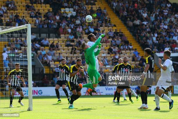 Max Culverwell Goalkeeper of Notts County punches the ball clear during a PreSeason match between Notts County and Derby County at Meadow Lane...