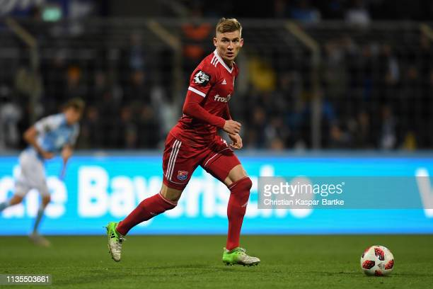 Max Dombrowka of SpVgg Unterhaching in action during the 3 Liga match between TSV 1860 Muenchen and SpVgg Unterhaching at Stadion an der Gruenwalder...