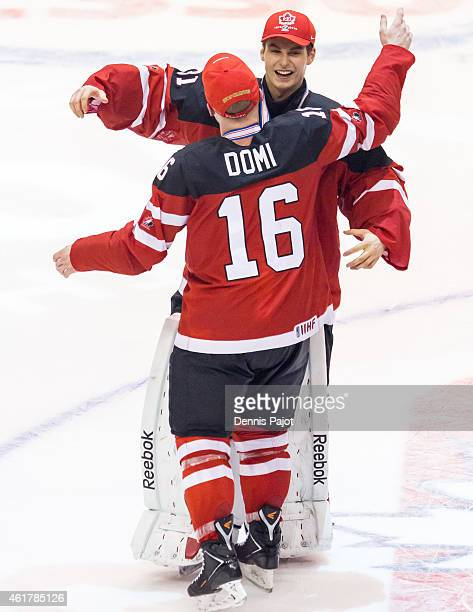 Max Domi and Zachary Fucale of Canada celebrate winning the Gold medal game against Russia during the 2015 IIHF World Junior Championship on January...