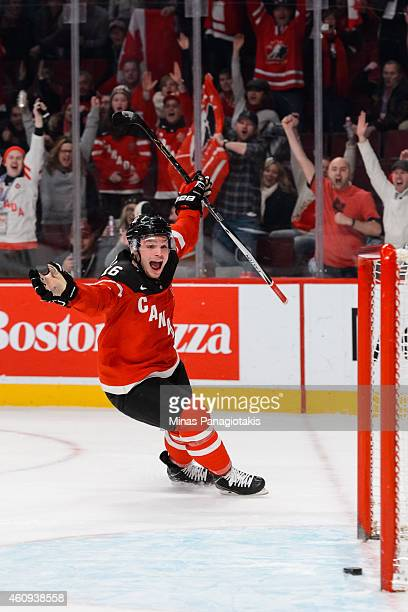 Max Domi of Team Canada celebrates his goal in a preliminary round game during the 2015 IIHF World Junior Hockey Championships against Team United...
