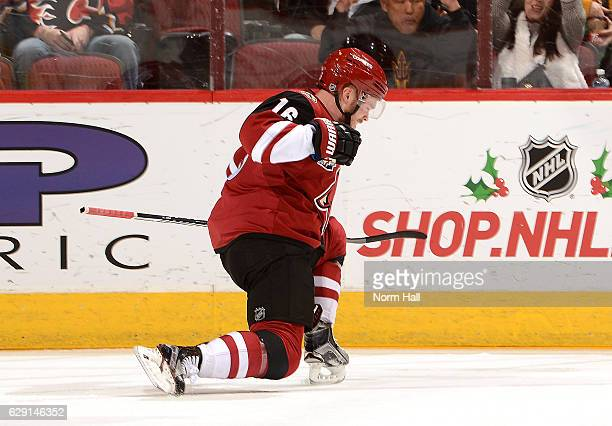 Max Domi of the Arizona Coyotes celebrates a goal against the Calgary Flames at Gila River Arena on December 8 2016 in Glendale Arizona